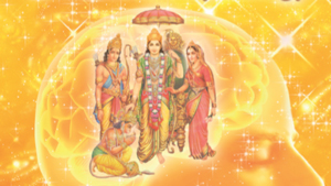Images of characters from the Ramayana, with a golden brain and starry background