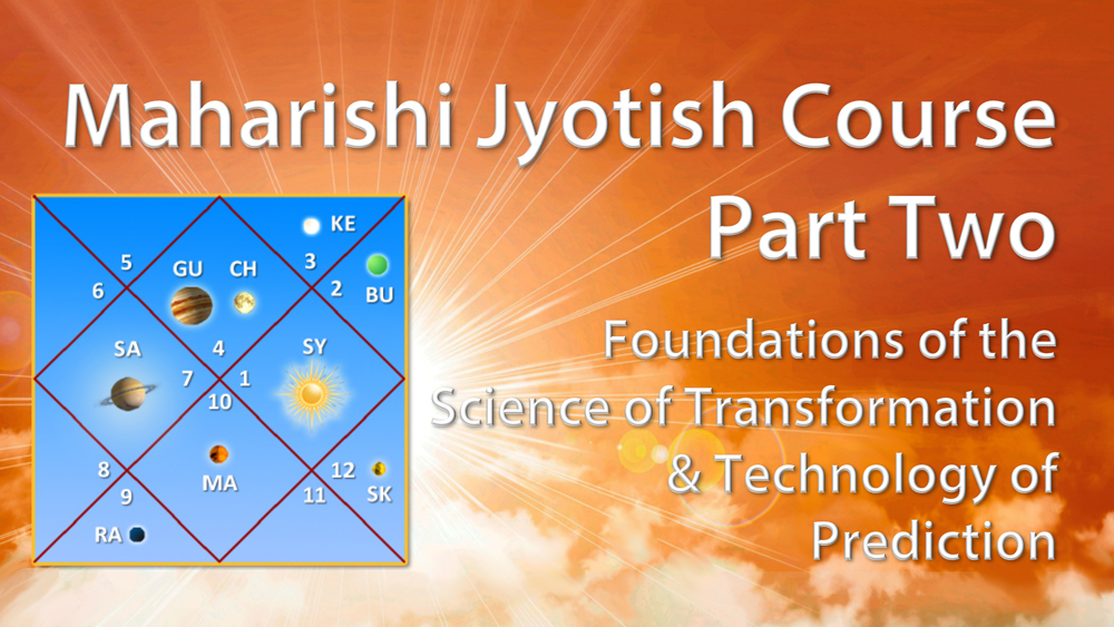 Maharishi Jyotish, Part Two * Foundations of the Science of Transformation and Technology of Prediction * image of jyotish chart with planets in various houses