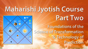 Maharishi Jyotish * Foundations of the Science of Transformation and Technology of Prediction * image of jyotish chart with planets in various houses - orange sky, sun rays, and clouds in the background