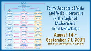 Forty Aspects of Veda and Vedic Literature in the Light of Maharishi's Total Knowledge * Yo jaguar tam rich karmanyate * the Richa (expressions of the Veda) zoom forth for him * August 14 - September 21, 2021, Tues. and Sat. afternoons, 2-3:30 pm CDT